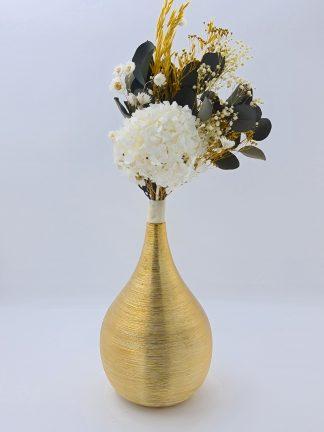 Jarrón oro con ramo